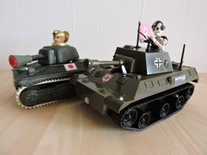 写真③キューピー日本軍とドイツ軍スカルパンサーです。 共に昔は同盟軍! 今後もヨロシュ~ おっとイタリアもね・・・・